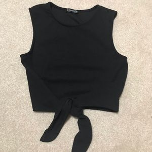 Shein Black Top with Tie
